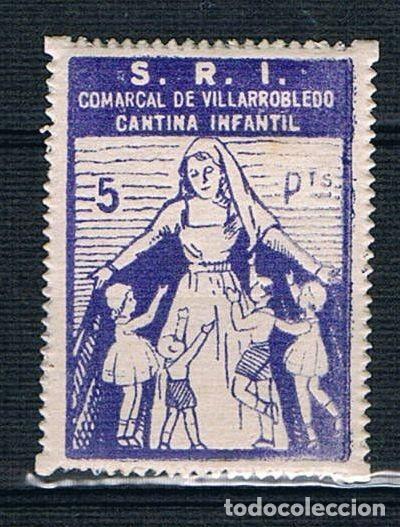 GUERRA CIVIL SELLO LOCAL SRI COMARCAL VILLAROBLEDO. CANTINA INFANTIL 5 PTS. . * 005ENE19 (Sellos - España - Guerra Civil - Locales - Nuevos)