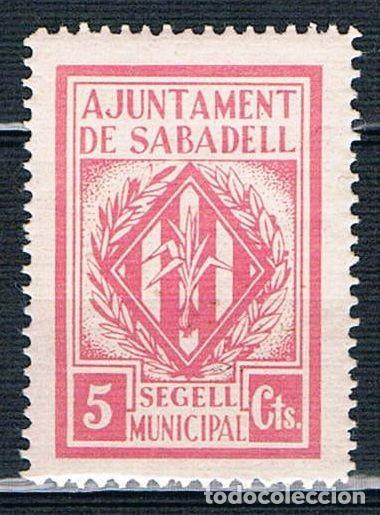 GUERRA CIVIL SELLO LOCAL AJUNTAMENT DE SABADELL SEGELL MUNICIPAL 5 CTS ** 005ENE19 (Sellos - España - Guerra Civil - Locales - Nuevos)