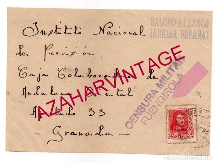 1938, FRONTAL DE CARTA CENSURA FUENGIROLA, MUY RARA (Sellos - España - Guerra Civil - De 1.936 a 1.939 - Cartas)