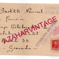 Sellos: 1938, FRONTAL DE CARTA CENSURA FUENGIROLA, MUY RARA. Lote 149800518