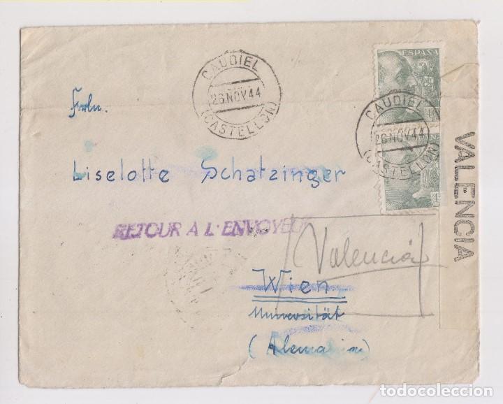 RARO SOBRE DE CAUDIEL, CASTELLÓN. 1944. CENSURA MILITAR. VER DORSO (Sellos - España - Guerra Civil - De 1.936 a 1.939 - Cartas)