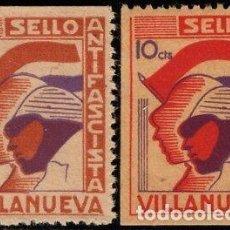 Sellos: VIÑETAS GUERRA CIVIL ANTIFASCISTA.VILLANUEVA 5 Y 10 CTS. NUEVAS 1936. Lote 150200762