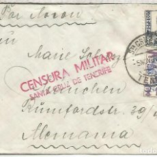 Sellos: GUERRA CIVIL CANARIAS TENERIFE CC A ALEMANIA CON SELLO SOBRECARGA LOCAL AEREA MARCA CENSURA MILITAR. Lote 150463834