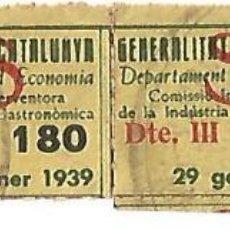 Francobolli: GENERALITAT CATALUNYA DEPARTAMENT D' ECONOMIA COMISSIO INTERVENTORA INDUSTRIA GASTRO DTE. III 1939. Lote 150483462