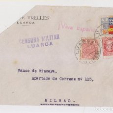 Sellos: FRONTAL CIRCULADO CON LOCAL Y FISCAL. 1937. CENSURA. LUARCA, ASTURIAS. Lote 150589702