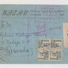 Sellos: PRECIOSO SOBRE CERTIFICADO. 1937. CENSURA MILITAR DE TUY, GALICIA. BAZAR ALBERTO. Lote 150591250