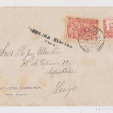 Sellos: SOBRE HOTEL CABREIROÁ, VERÍN, CON CENSURA Y LOCAL. 1937. ORENSE. GALICIA. Lote 150594058