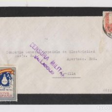 Sellos: SOBRE DE VALLADOLID, 1937. RARA VIÑETA LÁMPARA METAL. Lote 150594386