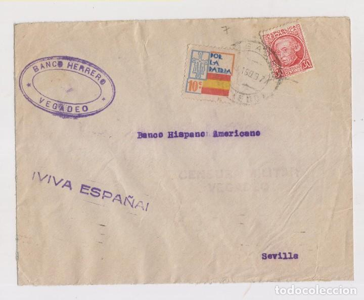 SOBRE CON CENSURA MILITAR Y LOCAL DE VEGADEO, ASTURIAS. 1937 (Sellos - España - Guerra Civil - De 1.936 a 1.939 - Cartas)