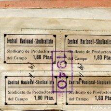Sellos: ESPAÑA GUERRA CIVIL. ASTURIAS. CARNET NACIONAL DE CNS. 4 SELLOS NO CATALOGADOS + 4 EDIFIL 70. Lote 150813222
