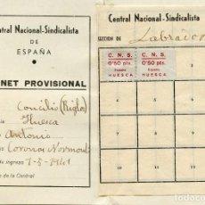 Sellos: ESPAÑA GUERRA CIVIL. HUESCA. CARNET DE C.N.S. SECCIÓN LABRADOR 1941. DOS VIÑETAS EDIFIL 36A. Lote 150826282