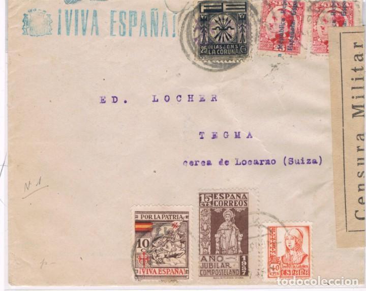 CARTA CIRCULADA DE LA CORUÑA A SUIZA CON SELLOS REPUBLICANOS, NACIONALES Y LOCALES (Sellos - España - Guerra Civil - Locales - Cartas)
