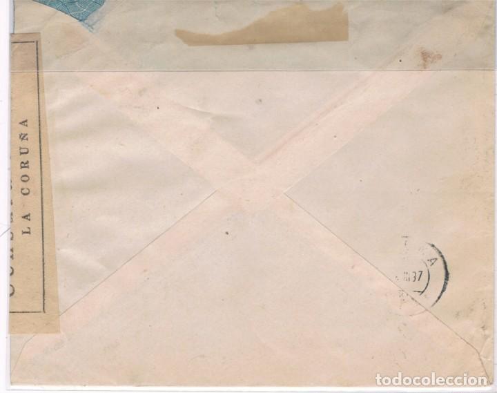 Sellos: Carta circulada de la Coruña a Suiza con sellos republicanos, nacionales y locales - Foto 3 - 150949034