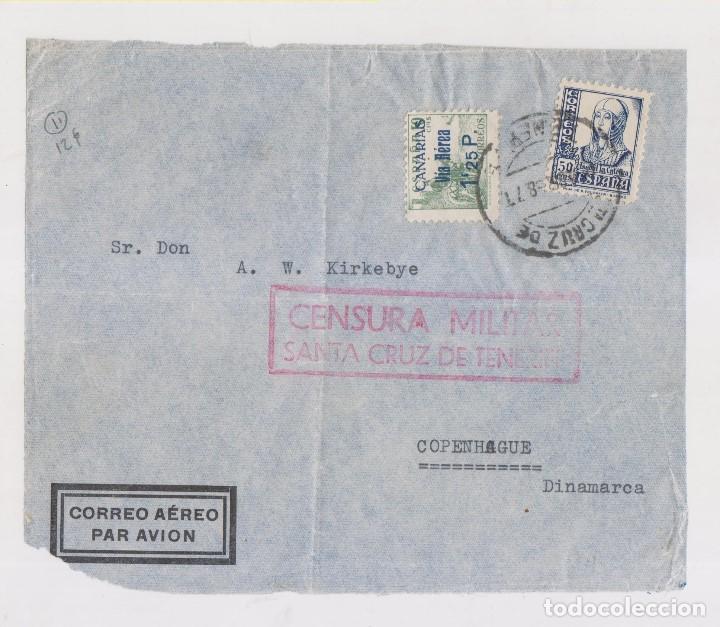 RARO FRONTAL. SELLO CANARIAS AÉREO. SOBRECARGADO. TENERIFE. 1938. CENSURA (Sellos - España - Guerra Civil - De 1.936 a 1.939 - Cartas)