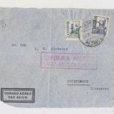 Sellos: RARO FRONTAL. SELLO CANARIAS AÉREO. SOBRECARGADO. TENERIFE. 1938. CENSURA. Lote 151029922