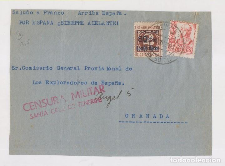 RARO FRONTAL. SELLO CANARIAS AÉREO. SOBRECARGADO. TENERIFE. CENSURA. 1938 (Sellos - España - Guerra Civil - De 1.936 a 1.939 - Cartas)