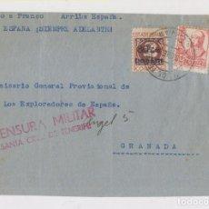 Sellos: RARO FRONTAL. SELLO CANARIAS AÉREO. SOBRECARGADO. TENERIFE. CENSURA. 1938. Lote 151030366