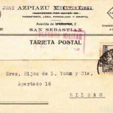 Sellos: TARJETA POSTAL: 1938 JOSE AZPIAZU ( SAN SEBASTIAN ) - BILBAO. Lote 151067830