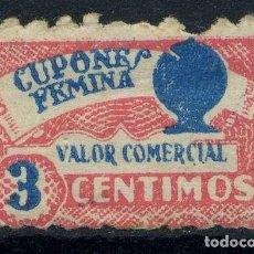 Sellos: ESPAÑA. CUPÓN FEMINA. 3 CENTIMOS. Lote 151235550