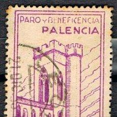 Sellos: PALENCIA, PARO Y BENEFICENCIA, USADO. Lote 151424250