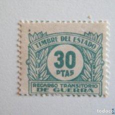 Sellos: SELLO LOCAL GUERRA CIVIL TIMBRE DEL ESTADO, RECARGO TRANSITORIO DE GUERRA 30 PTAS*. Lote 151847496