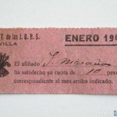 Sellos: TICKET FALANGE Y JONS , CUOTA ENERO 1942, 10 PTAS. Lote 151847508