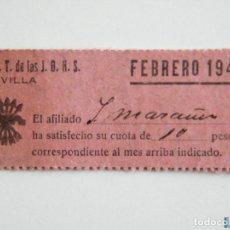 Sellos: TICKET FALANGE Y JONS , CUOTA FEBRERO 1942, 10 PTAS. Lote 151847512