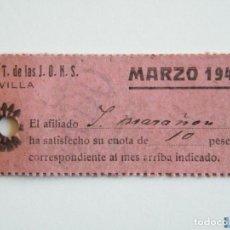 Sellos: TICKET FALANGE Y JONS CUOTA MARZO 1942, 10 PTAS. Lote 151847516