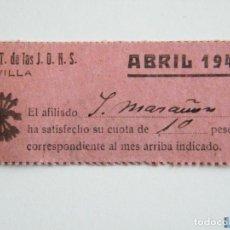 Sellos: TICKET FALANGE Y JONS CUOTA ABRIL 1942, 10 PTAS. Lote 151847520
