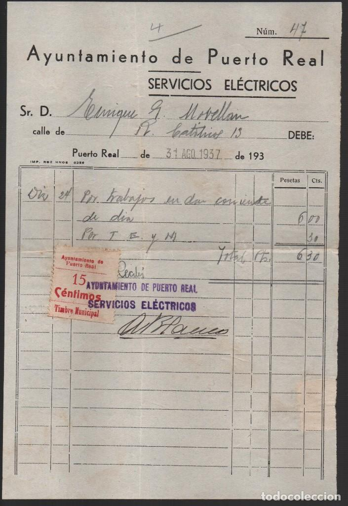 Sellos: PURTO REAL, -CADIZ- 15 CTS, -TIMBRE MUNICIPAL- SERVICIO ELECTRICO, VER FOTOS - Foto 2 - 152092902