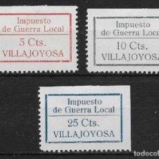 Sellos: VILLAJOYOSA (ALICANTE). EDIFIL NUM. 1/3*. Lote 152522130