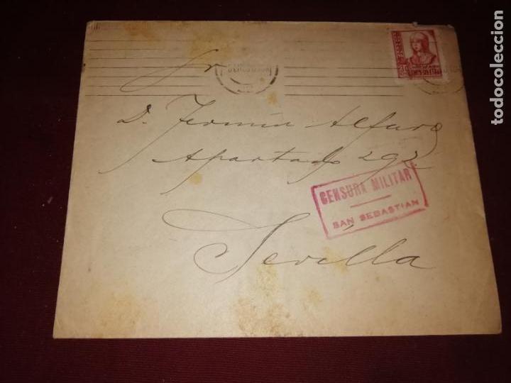SAN SEBASTIÁN. CENSURA MILITAR (Sellos - España - Guerra Civil - De 1.936 a 1.939 - Cartas)