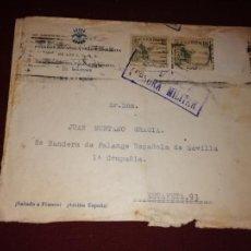 Sellos: CENSURA MILITAR DE SEVILLA. SOBRE DE FALANGE. Lote 152581918