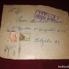 Sellos: CENSURA MILITAR DE SEVILLA. FRONTAL. Lote 152581926