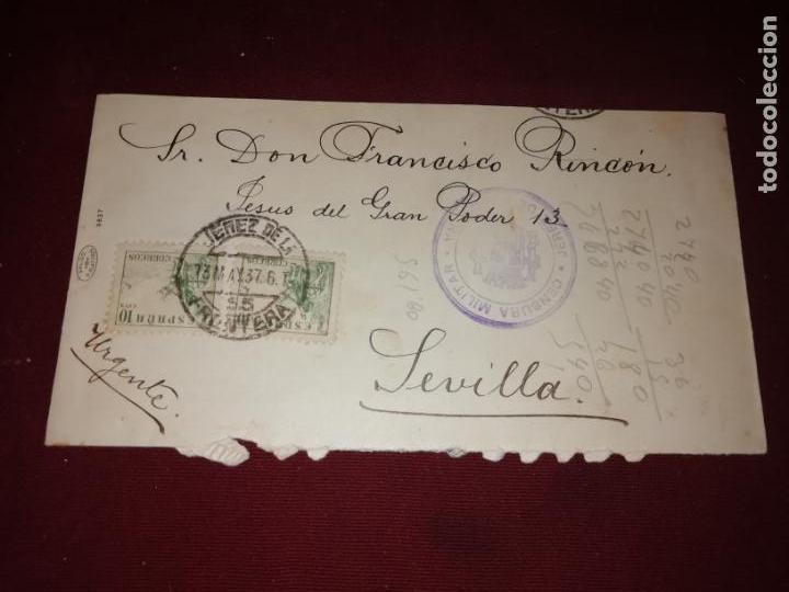 JEREZ DE LA FRONTERA. CENSURA MILITAR (Sellos - España - Guerra Civil - De 1.936 a 1.939 - Cartas)