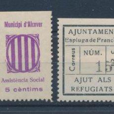 Sellos: MUNICIPI D'ALCOVER - ESPLUGA DE FRANCOLI - MONTBLANC - GUERRA CIVIL LOTE MNH** Y MH* - 2 ESCANEOS. Lote 152647122