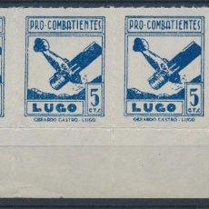 Sellos: LOTE GUERRA CIVIL - LUGO PRO COMBATIENTES 5CTS BLOQUE X3 - MNH** - 2 ESCANEOS. Lote 152652414