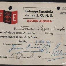 Sellos: SEVILLA, F.E. CUOTA 1 PTA.-SECCION FLECHAS- AÑO 1937,VER ALLEPUZ Nº 202, VER FOTO. Lote 152720970