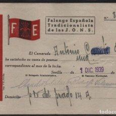 Sellos: SEVILLA, F.E. CUOTA 1 PTA.- AÑO 1939,VER ALLEPUZ Nº 202, VER FOTO. Lote 152721598