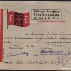 Sellos: SEVILLA, F.E. CUOTA 5 PTA.-LEGION NACIONAL DE FLECHAS- AÑO 1938,VER ALLEPUZ Nº 202, VER FOTO. Lote 152722014