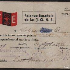 Sellos: SEVILLA, F.E. CUOTA 5 PTA.- AÑO 1936,VER ALLEPUZ Nº 202, VER FOTO. Lote 152722158