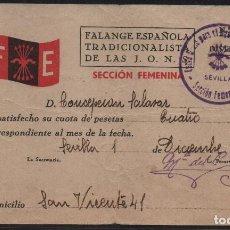 Sellos: SEVILLA, F.E. CUOTA 5 PTA.-SECCION FEMENINA-- AÑO 1937,VER ALLEPUZ Nº 202, VER FOTO. Lote 152722226