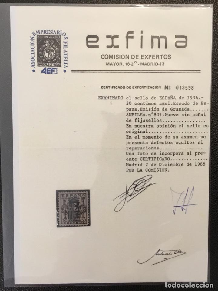 Sellos: España 1936 - Escudo de España. Granada. - Edifil 801** MNH - DOS CERTIFICADOS - LUJO - Foto 2 - 152735782