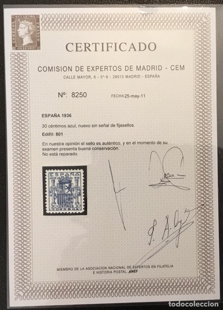 Sellos: España 1936 - Escudo de España. Granada. - Edifil 801** MNH - DOS CERTIFICADOS - LUJO - Foto 3 - 152735782