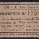 Sellos: SEVILLA, 15 PTA, -DIA PLATO UNICO- 1938. VER FOTO. Lote 152745202
