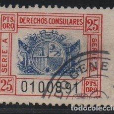 Sellos: DERECHOS CONSULARES ESPAÑOLES, 25 PTAS.ORO. VER FOTO. Lote 152747346