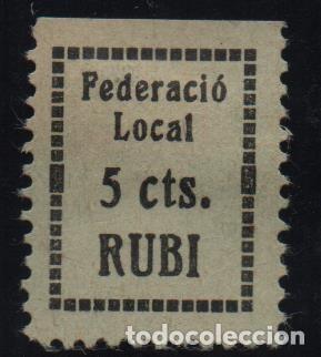 RUBI, 5 CTS. FEDERACIO LOCAL, VER FOTO (Sellos - España - Guerra Civil - De 1.936 a 1.939 - Usados)