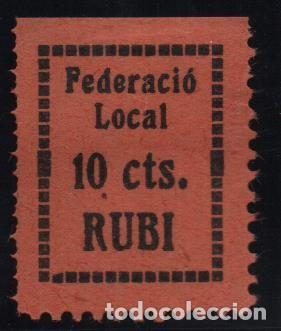 RUBI, 10 CTS. FEDERACIO LOCAL, VER FOTO (Sellos - España - Guerra Civil - De 1.936 a 1.939 - Usados)
