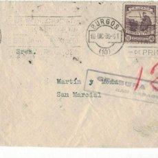 Sellos: BURGOS A SAN SEBASTIAN 1936 CRUZADA CONTRA EL FRIO. CENSURA MILITAR. Lote 152784682