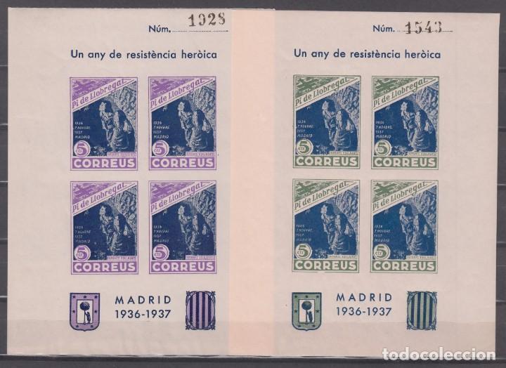 GUERRA CIVIL, * PI DE LLOBREGAT* * UN ANY DE RESISTÉNCIA HERÓICA* MADRID 1936-1937, DOS HOJAS BLOQUE (Sellos - España - Guerra Civil - De 1.936 a 1.939 - Nuevos)